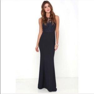 Lulu's Oak & Elm  Navy Blue Lace Maxi Dress F688